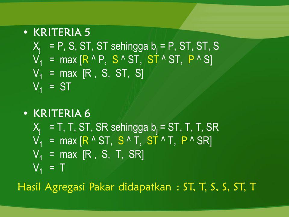KRITERIA 5 Xj = P, S, ST, ST sehingga bj = P, ST, ST, S. V1 = max [R ^ P, S ^ ST, ST ^ ST, P ^ S]